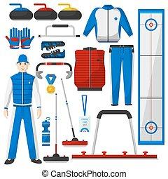 Curling winter game set. Vector Illustration. - Curling...