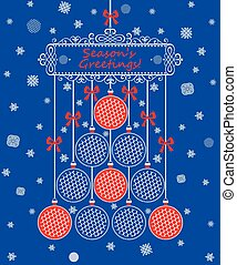 Christmas card with hanging lacy decoration