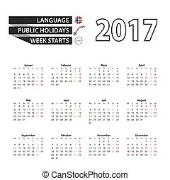 Calendar 2017 on Norwegian language. With Public Holidays...