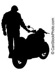 Motor bike and man - Old big bike on white background