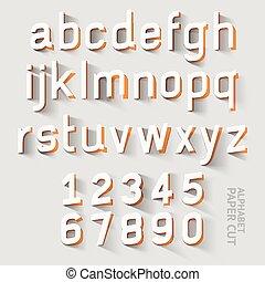 font paper cut - Alphabet paper cut designs. Vector...