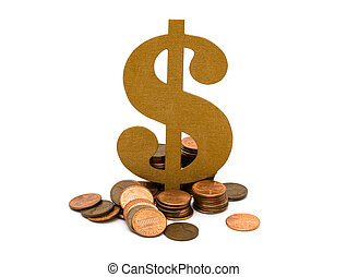 Money Matters - A golden dollar sign with a lot of pennies...