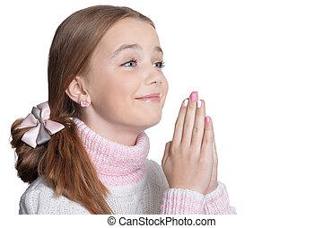 poco, pregare, ragazza
