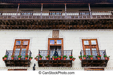 wooden old balconies in La Orotava - beautiful wooden old...