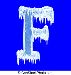 Icing alphabet. Letter F. Upper case. With clipping path