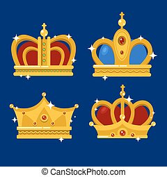 Set of gold king crown or pope tiara. Royal crown for queen...
