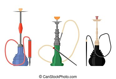 Set of hookah with pipe for tobacco smoke. Nargila or hubbly...