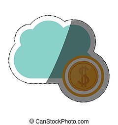 Isolated coin and cloud design