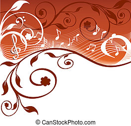 Music background with notes and flowers vector illustration