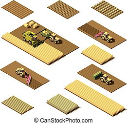 Vector isometric low poly agricultural machinery - Vector...