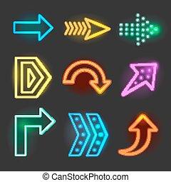 Neon realistic arrows signs vector