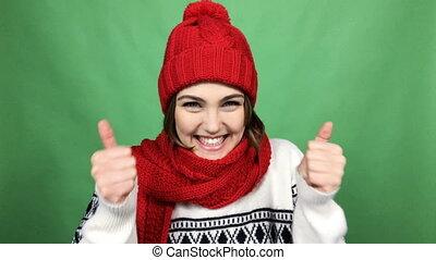 Winner, success concept. 4K video of happy overjoyed winter...