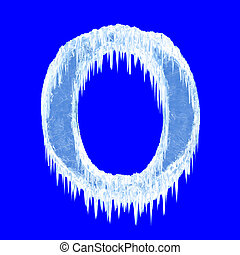 Icing alphabet. Letter O. Upper case. With clipping path