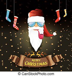 vector bad rockstar rock n roll dj santa claus with smoking...