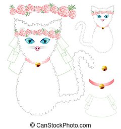 White Cat Bride with Blue Eyes, Crown Pink Rose Flower, Golden Ball Collar. Valentine Day. Vector Illustration