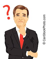 mature businessman has a question mark sign on thinking...