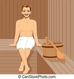 Handsome man having sauna bath in steam room - Handsome man...