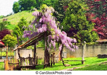 Pergola overgrown with flowering wisteria. Oil painting...
