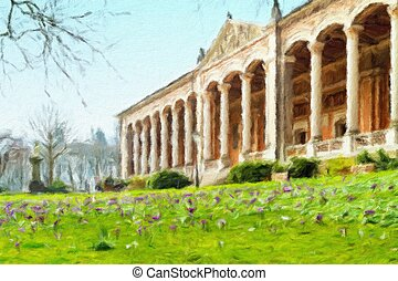 Historic center of Baden-Baden. Germany. Oil painting...