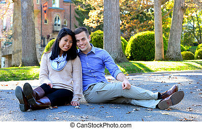 Young couple in love in an autumn setting