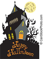 Happy Halloween sign with mansion