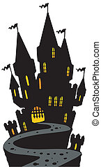 Castle on hill silhouette - vector illustration