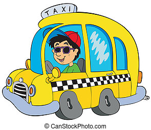 caricatura, taxi, conductor