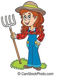 Cute farm girl - vector illustration.