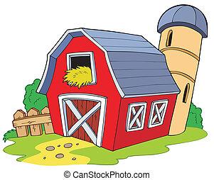 caricatura, rojo, granero