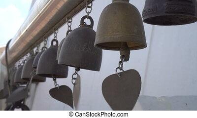 Wide Shot of bells at the Golden Mount in Bangkok