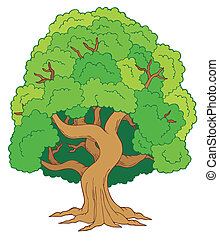 Green leafy tree - vector illustration.