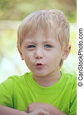 Little boy talking - The little boy was talking...