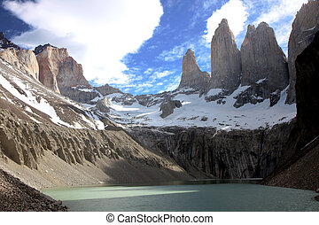 Torres del Paine - View to the mountains of Torres del Paine...
