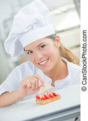 Skilled young patisserie chef