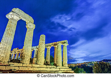 Temple of Juno at night. Valley of Temples, Agrigento.