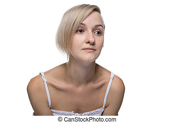 Young blond woman with hairstyle