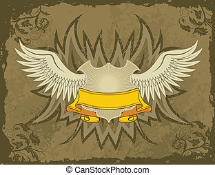 Coat of arms - Grunge background with wings and flowers,...