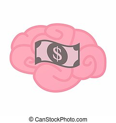Isolated brain with a dollar bank note - Illustration of an...