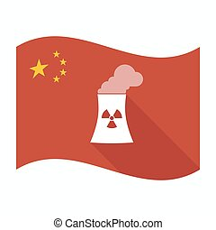 Isolated China flag with a nuclear power station -...