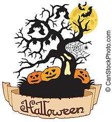 Tree silhouette with Halloween banner - vector illustration.