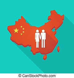 Long shadow China map with a heterosexual couple pictogram -...