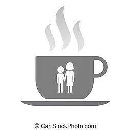 Isolated coffee cup with a childhood pictogram -...