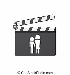 Isolated clapper board with a childhood pictogram -...