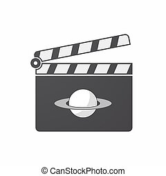Isolated clapper board with the planet Saturn - Illustration...