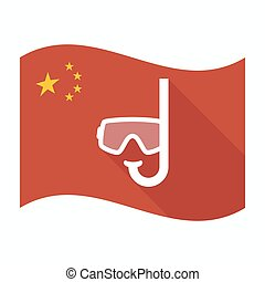 Isolated China flag with a diving goggles