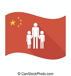 familia, padre, Pictogram, aislado, bandera, China, macho,...