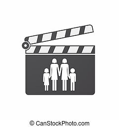 Isolated clapper board with a lesbian parents family pictogram