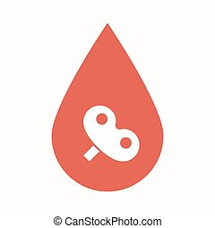 Isolated blood drop with a toy crank - Illustration of an...
