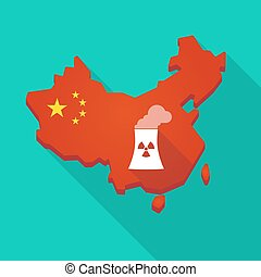 Long shadow China map with a nuclear power station -...