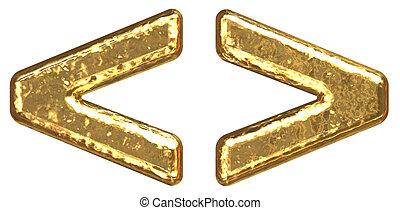 Golden font. Symbol more. Symbol less